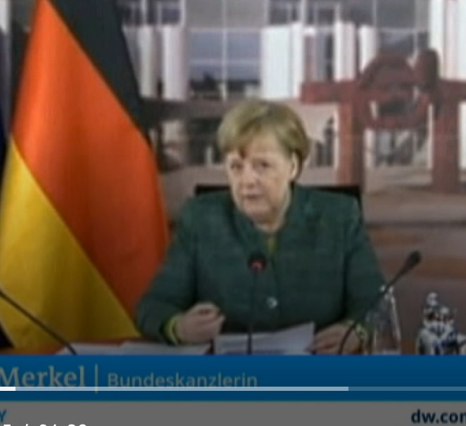 Bundeskanzlerin Merkel bei ihrer Ansprache zum Petersburger Klimadialog 28.4.20 Bild Screenshot DW